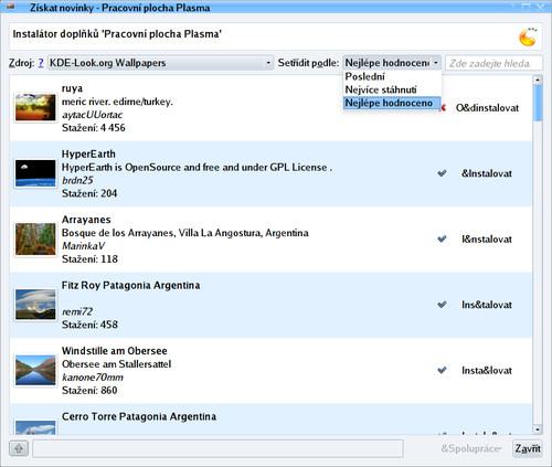 Výběr tapet na serveru KDE Look