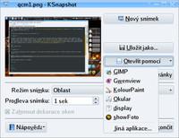 KSnapshot - Otevřít pomocí