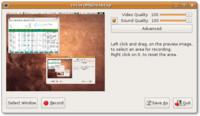 Základní okno nastavení recordMyDesktop