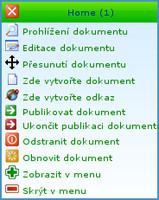 Kontextová nabídka stromu dokumentů