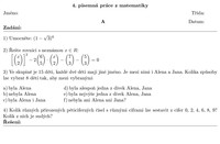 Písemka z matematiky