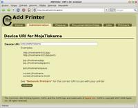 Nastavení umístění tiskárny