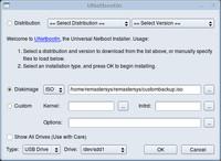 Pre vytvorenie USB kľúča z custombackup.iso nevyberajte distribúcie, ale ISO súbor, ktorý ste práve vytvorili pomocou Remastersy