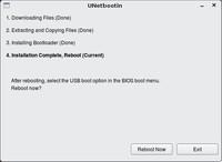 Na záver uvidíte okno s ponukou reštartovať počítač aj s tým, aby ste nezabudli na možnosti BIOSu, kde voľba spustiť systém z US