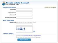 Registrace do služeb Zoho