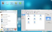 Vzhled současného KDE 4.3: Vlevo je hlavní nabídka, vpravo správce souborů Dolphin