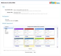 Zoho Wiki - úvodní obrazovka, výběr vzhledu
