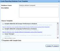 Zoho Reports - vytvoření databáze podle šablony