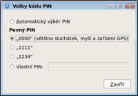 Výběr PINu pro spárování zařízení
