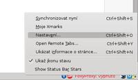 Ikona pro ovládání Xmarks v Mozille Firefox (k této nabídce se dostanete pravým tlačítkem myši, levým tlačítkem myši se dostanet