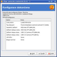 Shrnutí konfigurace a možnost případné změny