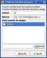 Seznam kontaktů – Přidání a editace