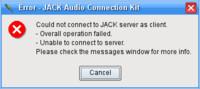 QJackCtl – Chybová hláška