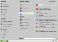 Menu distribuce Linux Mint