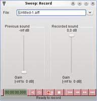 Sweep – okno nahrávání
