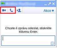 Dialogové okno pro chat, zvýrazněny ikony pro videohovor a telefonování
