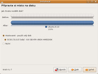 Možnosti rozdělení disku při instalaci distribuce Ubuntu 8.10 Intrepid Ibex