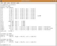 Výstup příkazu sensors s údaji o hardwaru