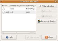 Úvodní okno nástroje pro správu uživatelů