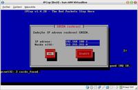 Zadání IP adresy na zeleném rozhraní
